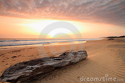 Sunset over tropical beach