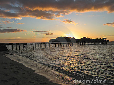 Sunset over a tropical beach