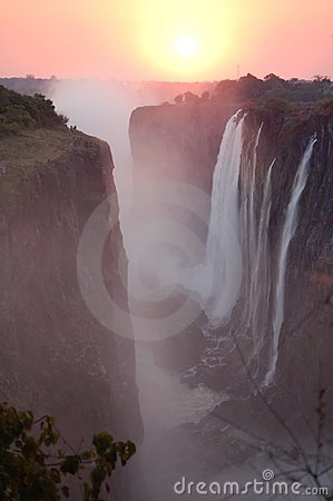 Free Sunset Over Victoria Falls Stock Image - 12751961