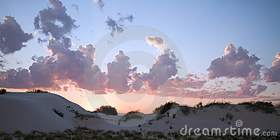 Sunset over White Sands National Monument