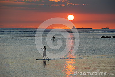 Sunset Paddler Editorial Stock Photo