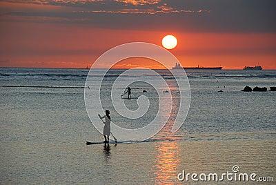 Sunset Paddler Editorial Stock Photo