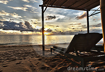 Sunset in Phu Quoc close to Duong Dong with sun be