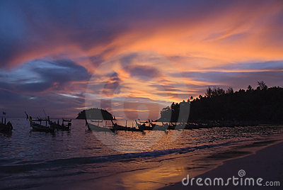 Sunset on Phuket beach, Thailand