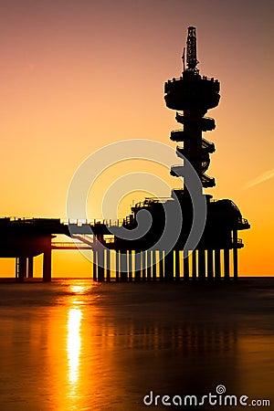 Sunset pier silhouette