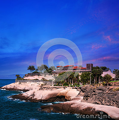 Sunset in Puerto de la Cruz, Tenerife, Spain. Tourist hotel Resort. Sunset