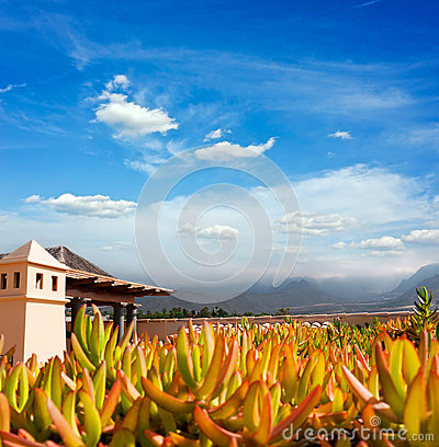 Sunset in Puerto de la Cruz, Tenerife, Spain. Tourist hotel Resort. Sunset