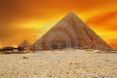 Sunset at pyramid of Menkaur in Giza