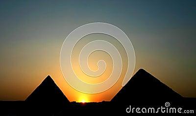Sunset at pyramids