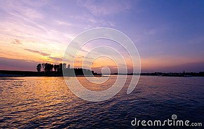 Sunset at Rhine near Cologne