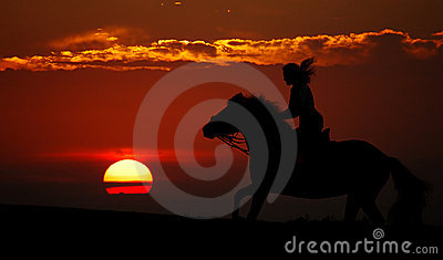 Sunset and rider (silhouette)