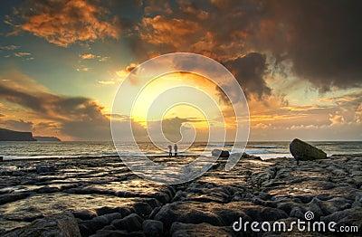 Sunset on the rocky island