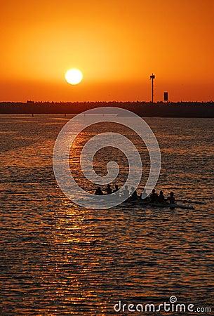 Free Sunset Rowing Crew Stock Photo - 4586910