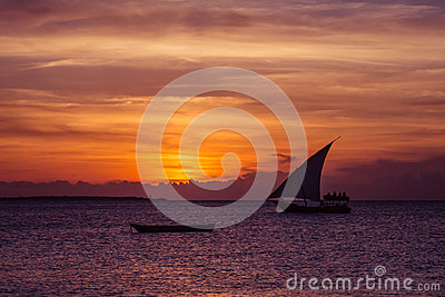 Sunset sail near Zanzibar Island