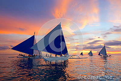 Sunset Sailing at Boracay, Philippines Editorial Stock Photo