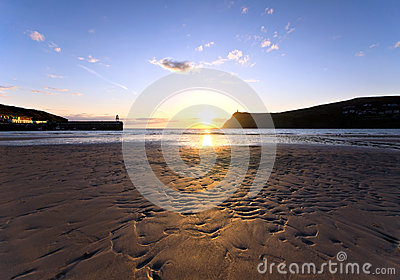 Sunset on Sandy Beach at Port Erin - Isle of Man