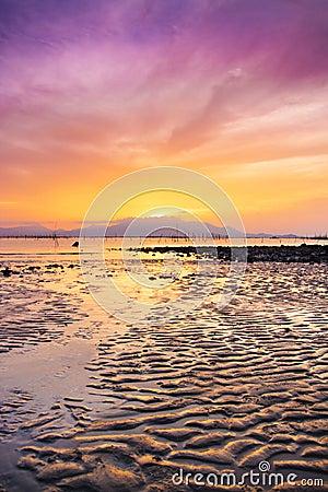 Sunset sea beach sky landscape. Beautiful sun light reflection Stock Photo