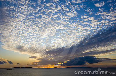 A sunset on the sea with clouds