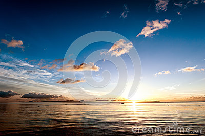 Sunset sea sky summer landscape
