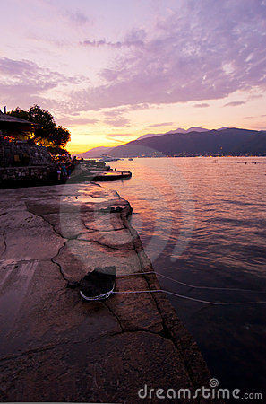 Sunset at the seaside of Montenegro