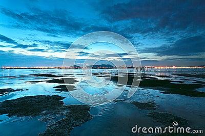 Sunset shingle coast