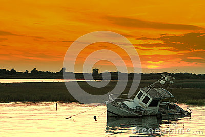 Sunset and shipwreck