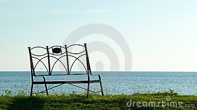 Sunset shore bench