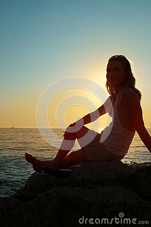Sunset silhouette woman