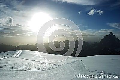Sunset ski slope