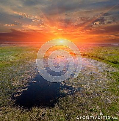 Sunset on small lake