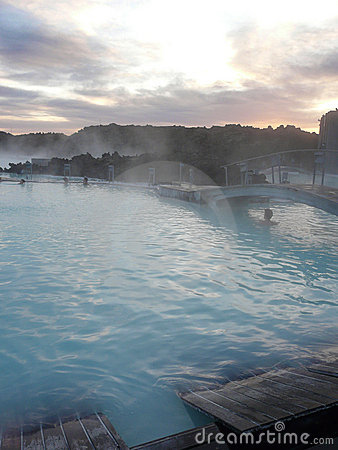Sunset at the steamy Blue Lagoon, Iceland