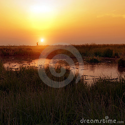 Sunset in the steppe