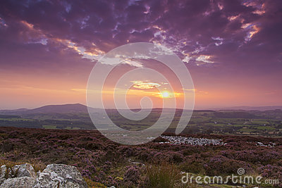 Sunset from Stiperstones Ridge to Cordon Hill