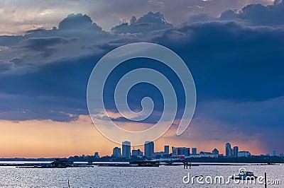 Sunset storm brewing over Johor Bahru city
