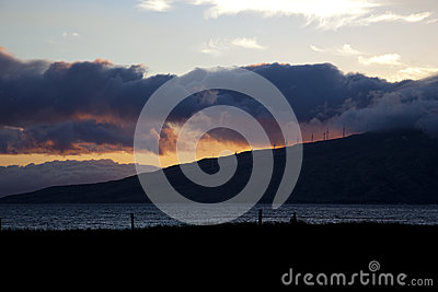 Sunset with storm clouds on Maui