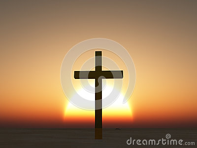Sunset or sunrise cross