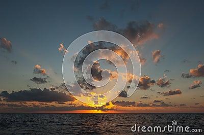 Sunset sunrise at sea