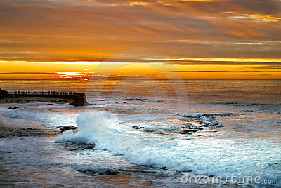 Sunset and Surf ,La Jolla, California