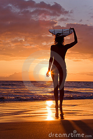 sunset surfer girl