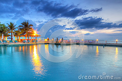 Sunset at swimming pool