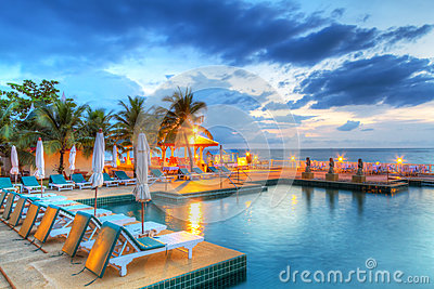Sunset at swimming pool
