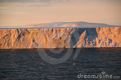 Sunset with tabular iceberg