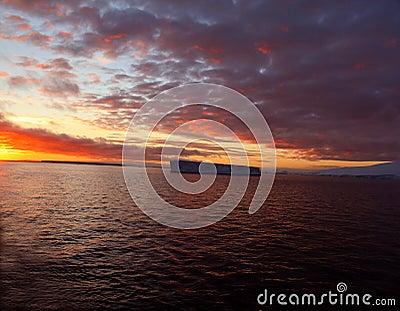 Sunset with tabular iceberg