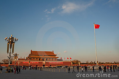 Sunset at Tiananmen square Editorial Stock Photo