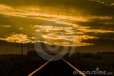 Sunset train tracks