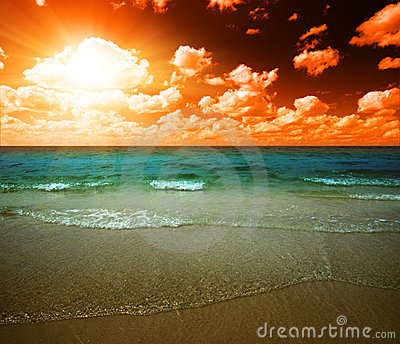 Sunset and tropical ocean