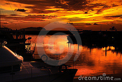 Sunset, Twilight Zone Over Marina