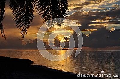 Sunset view on Aitutaki, Cook Islands