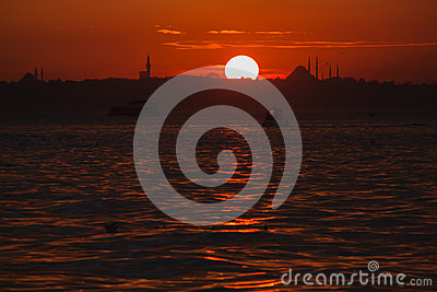 Sunset view from Cengelkoy to Istanbul