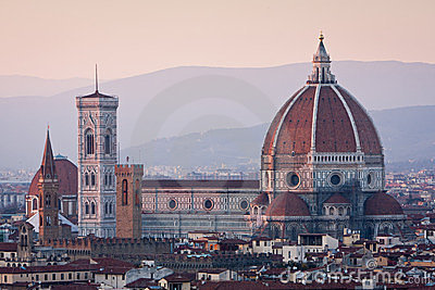 Sunset view of Duomo cathedral in Florence, Italy